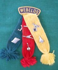 VINTAGE WEBELOS CUB SCOUT TRI COLORED SHOULDER RIBBON WITH SIX SILVER METAL PINS