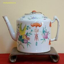 "Beautiful Antique Chinese Qing Famille Rose ""San Duo"" Porcelain Teapot 19thC"