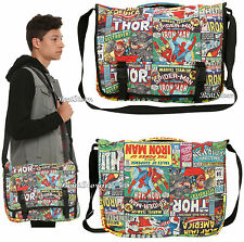 Marvel Avengers Comic Book Print Messenger Satchel Laptop Book Shoulder Bag NEW