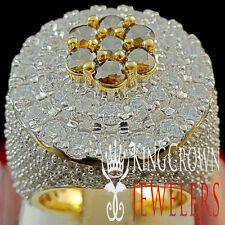 BIG BOLD 10K YELLOW GOLD SILVER MENS BROWN TOPAZ LAB DIAMOND HUGE XXL RING BAND