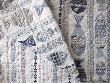 SIGRID OLSEN Whimsical Fish F/QUEEN QUILT Blue Teal Gray Taupe COASTAL BEACH NEW