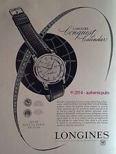 PUBLICITE LONGINES MONTRE MODELE CONQUEST CALENDAR DE 1956 FRENCH AD PUB WATCH