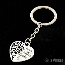 Silver Tone 'Mother & Daughter Forever' Heart Double Sided Keyring New UK -177
