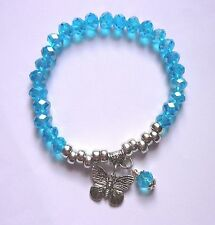 SPARKLY FACETTED AB TURQOUISE BLUE ABACUS BEAD STRETCH BRACELET WITH DANGLES