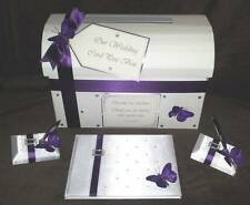 Wedding Post Box + Matching Guest Book & Pens-Cadburys Purple Butterfly Design