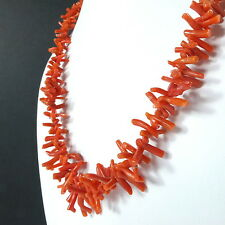 Antique Natural Branch Coral Necklace Salmon Red