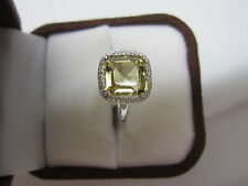 GORGEOUS ESTATE 14 KT GOLD 3.81 CTW. YELLOW BERYL AND DIAMOND RING !!!!!!!!