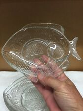 Set Of Four Fish Shaped Glass Plates