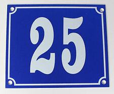 """Aluminium Hausnummer """"25"""" 12x10cm blau Hausnummernschild sofort lieferbar Schild"""