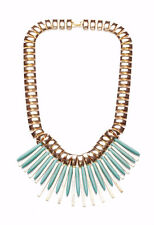 Oceania' GORGEOUS GOLD TROPICAL NECKLACE PASTEL BLUE SPIKES (ZX55)