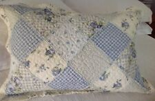 Shabby Chic Pillow Sham Case Cover Slip Blue Quilted Floral Standard Size
