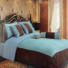 Embroidery Printed Texas Western Star Luxury Comforter Suede 7 Pieces Set King