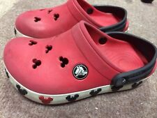 Disney Mickey Mouse Crocs Red With Black Straps Youth 10/11 M