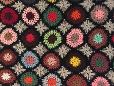 Vintage Crochet Granny Square Afghan Throw Blanket 68x46 Handmade Black & Multi