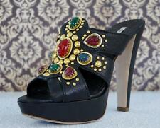 MIU MIU Jeweled Black Leather Platform Slides Heels 36.5/6.5 ~ WARRIOR PRINCESS!