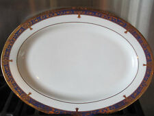 NIKITA~EMBASSY TRANSLUCENT ~ GOLD ENCRUSTED COBALT~ SERVING PLATTER