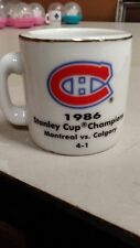 NHL STANLEY CUP CRAZY MINI MUG MONTREAL CANADIENS 1986 CHAMPS W/OPPONENT &SCORE