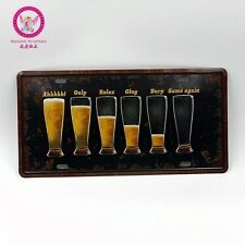 Beer Glass Cups LICENSE CAR PLATE Vintage Tin Sign Bar pub home Wall Decor
