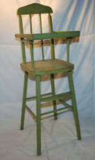 "VINTAGE 24.5"" WOODEN DOLL HIGHCHAIR BABY CHAIR PAINTED GREEN WITH LIFTING TRAY"