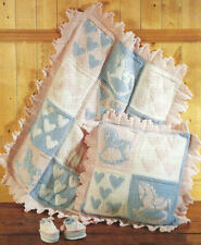Baby  Knitting Pattern Blanket, Cushion and Boots with Hearts and Rocking Horse