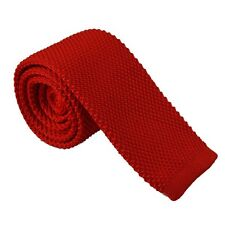 Red Knitted Neck Tie Slim Sock End Square Formal Wedding Party Prom UK Free Post