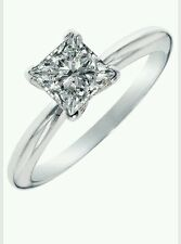 SOLITAIRE ENGAGEMENT 3/4 CARAT BRILLIANT PRINCESS CUT RING SOLID 14K WHITE GOLD