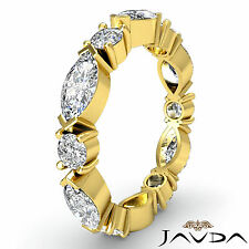 Classic Womens Eternity Band 14k Yellow Gold Marquise Round Diamond Ring 1.62Ct