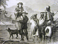 Trumble CUBAN REVOLUTION Family Flees for Safety to JAMAICA 1874 Print Matted