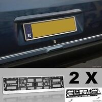 PAIR X2 UNIVERSAL FITMENT CHROME NUMBER PLATE SURROUNDS SURROUND HOLDER FRAMES