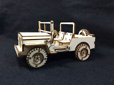 Laser Cut Wooden Willy's Jeep 3D Model/Puzzle Kit