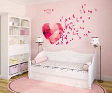 Wall Stickers Love You Hearts Blowing in Pink DIY Bedroom Design