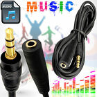 Male To Female 3.5mm AUX Jack Audio Cable iPod MP3 Headphone TV Extension Cord