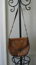 Vintage 70s Tooled Flowers Leather Purse  Shoulder Bag Hippie Boho Med Large