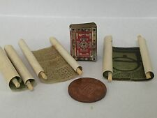 Dolls House Miniature Book of Lindisfarne Gospels with added scroll - Pictured