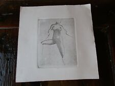 Original Unsigned Etching Nude Figure Small Art