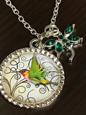 """Hummingbird with Dragonfly Rhinestones Charm Tibetan Silver with 18"""" Necklace H1"""