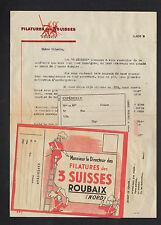 """ROUBAIX (59) FILATURE / LAINE à TRICOT """"FILATURES des 3 SUISSES"""" en 1950"""