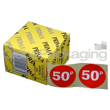 """Roll of 500 """" 50p """" Red Price Labels Self Adhesive Stickers QUALITY 45mm PRIMA"""