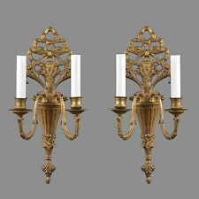 Brass French Regency Sconces c1950 Vintage Antique Wall Lights