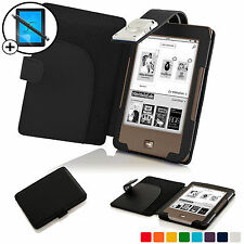 Black Leather Smart Case Cover with LED Light for Tolino Page Scrn Prot & Stylus