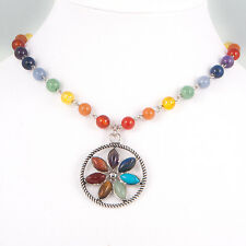 7 Chakra Gemstone Chain Necklace, Reiki, Healing, FLOWER Pendant, Silver Tone