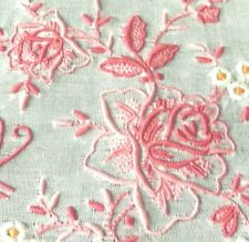 Hand embroidered HANDKERCHIEF vintage batiste linen red floral - something old