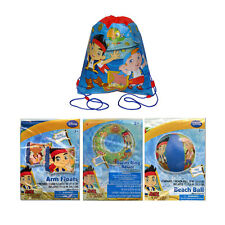 Disney Jake Pirates Sling Bag Backpack + Swim Ring + Arm Floats + Beach Ball Toy