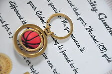 24K gold plated Rolling Basketball metal keyring 3d car key chain car ring fob