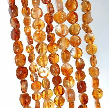 5-8MM HONEY CITRINE GEMSTONE YELLOW FLAT ROUND NUGGET LOOSE BEADS 14-15""