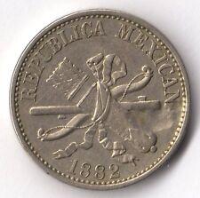 MEXICO 5 CENTAVOS 1882 NICKEL KM#399 NICE CONDITION AND ERROR (NO A IN MEXICANA)