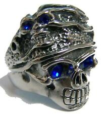 CRYSTAL BLUE EYES SKULL HEAD HAT STAINLESS STEEL RING size 11 silver S-533 biker