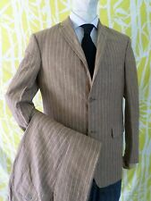 PURE LINEN tan brown stripe working cuff surgeon sleeve Italian suit 34x31 40R