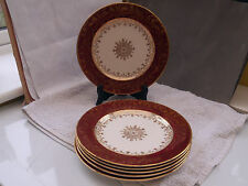 SIX 1912+  SALAD / DESSERT PLATES BY J & G MEAKIN WITH A DARK RED & GOLD PATTERN