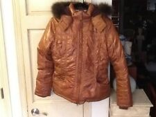 Pepe Jeans London Women's Brown Down and Real Fur Hooded SKI JACKET
